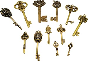 CHuangQi Vintage Skeleton Keys Set, Filigree Steampunk Keys, Antique Bronze Charms Pendants, Pack of 12 Different Style (Pack of 12)