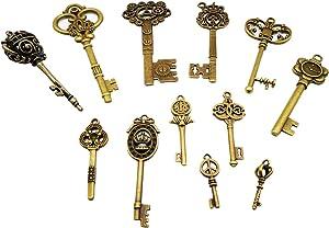 CHuangQi Vintage Skeleton Keys Set, Filigree Steampunk Keys, Antique Bronze Charms Pendants, Pack of 12 Different Style (Pack of 12)