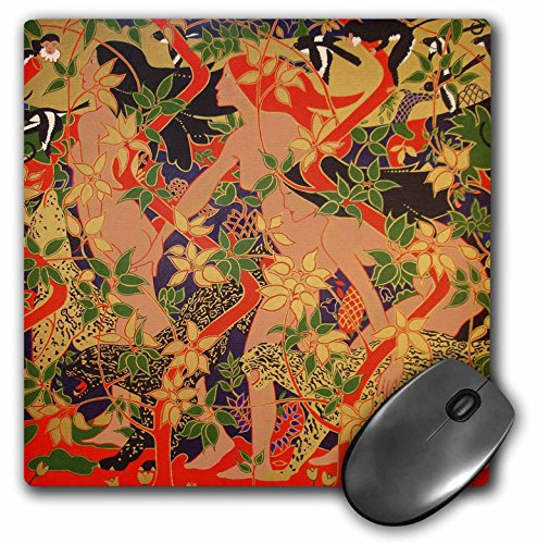 3dRose LLC 8 x 8 x 0.25 Inches Mouse Pad, Diana, Minerva and Vesta Mythology Monkeys, Magpies, Leopards, Big Cats, Art Nouveau, Goddess -