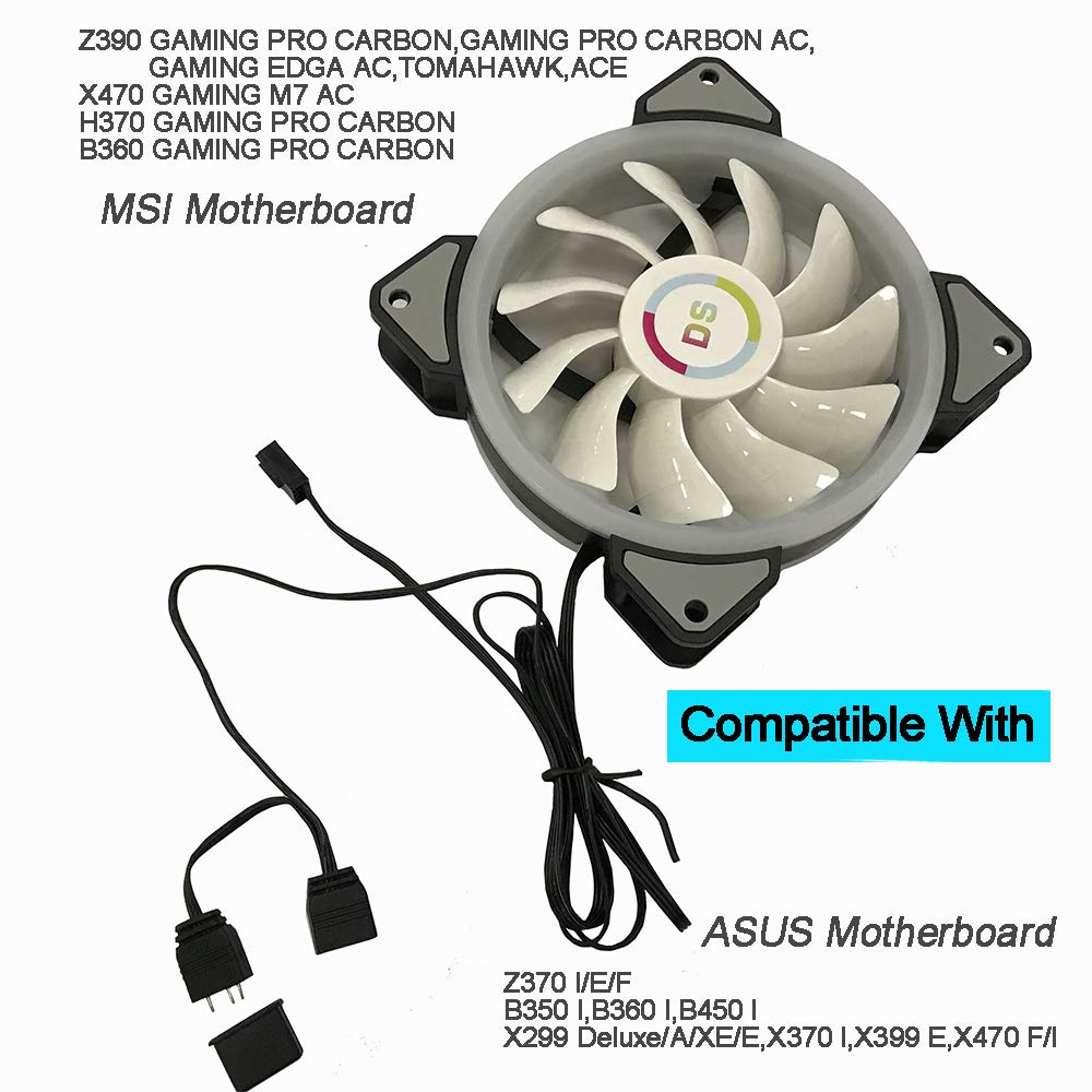 LEDdess RGB LED 120mm Case Fan Motherboard Control for PC Cases, CPU