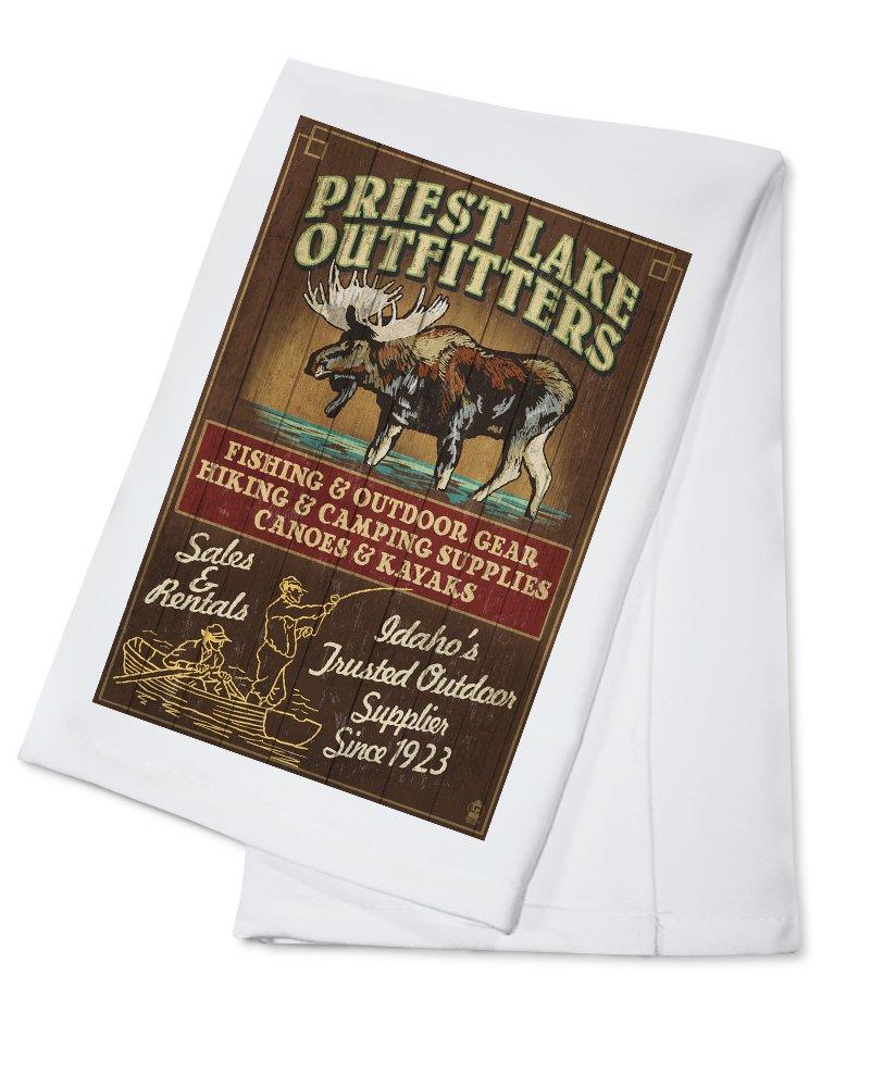 Priest湖、アイダホ – Moose Outfitters Vintage Sign Cotton Towel LANT-42802-TL Cotton Towel  B018OBDUS0