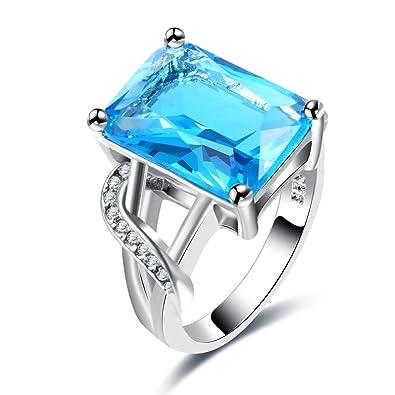 Amazon.com: BUYEE Elegante anillo de piedra cuadrada grande ...