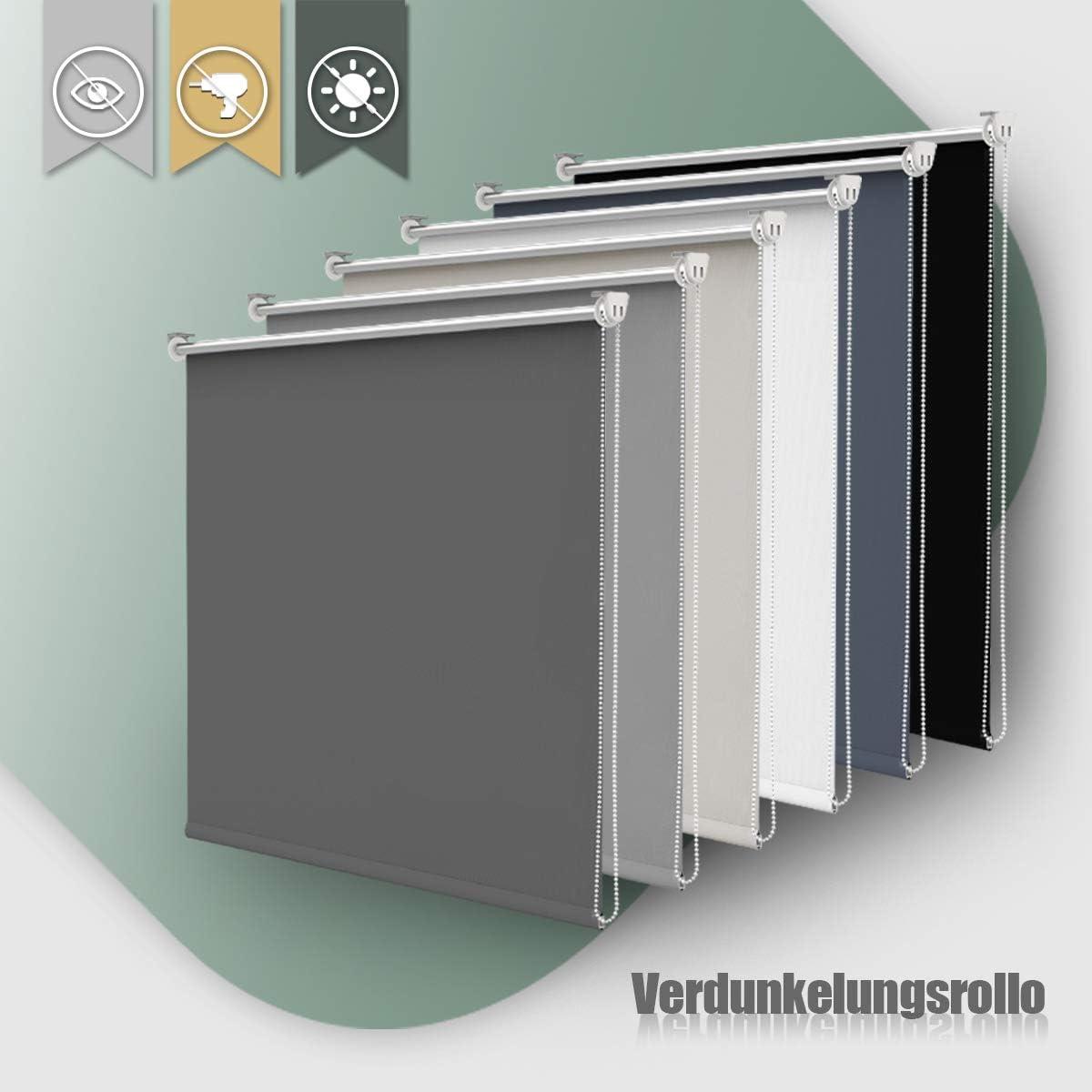 Polyester BuSeu Store occultant sans per/çage Klemmfix Thermorollo occultant pour fen/être et Porte Gris fonc/é 50x160
