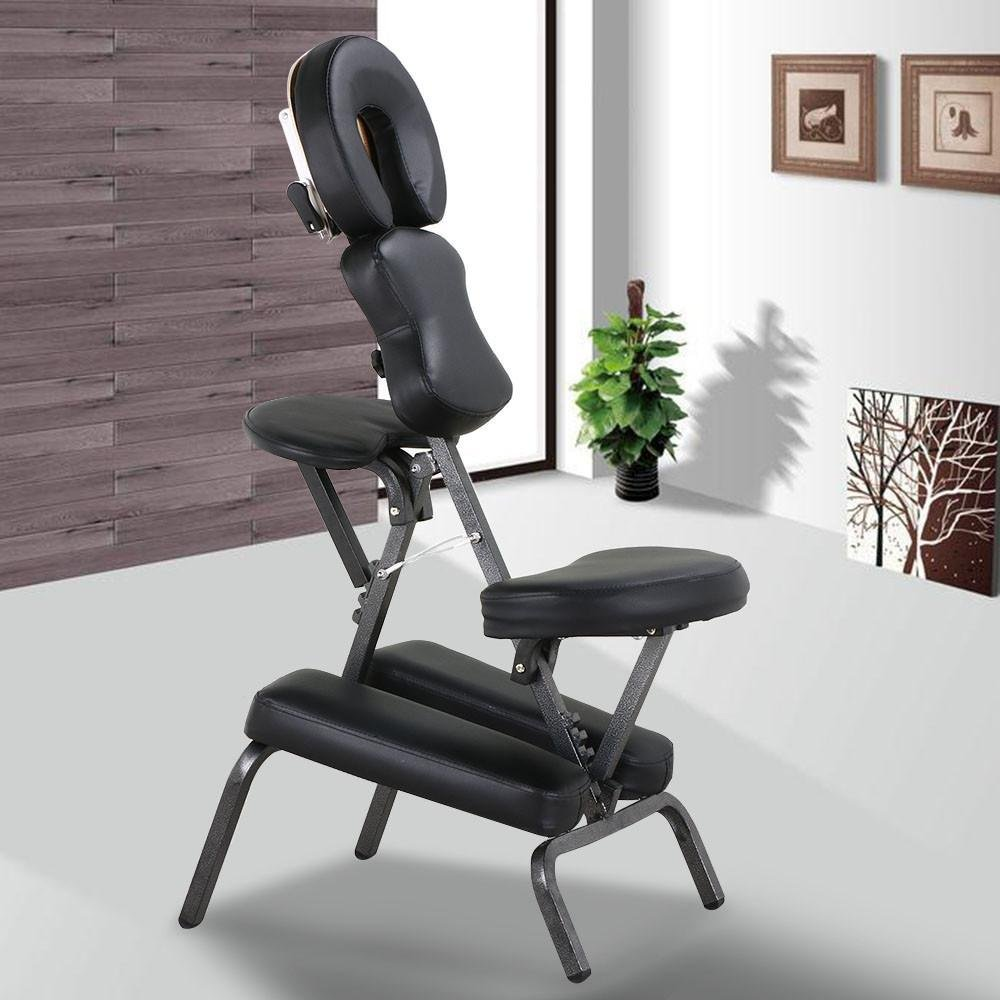 Popamazing Height Adjustable Massage Chair Stool Indian Head Massage Tattoo Salon Reiki with thick Pad,Carrying Bag,Portable,Black