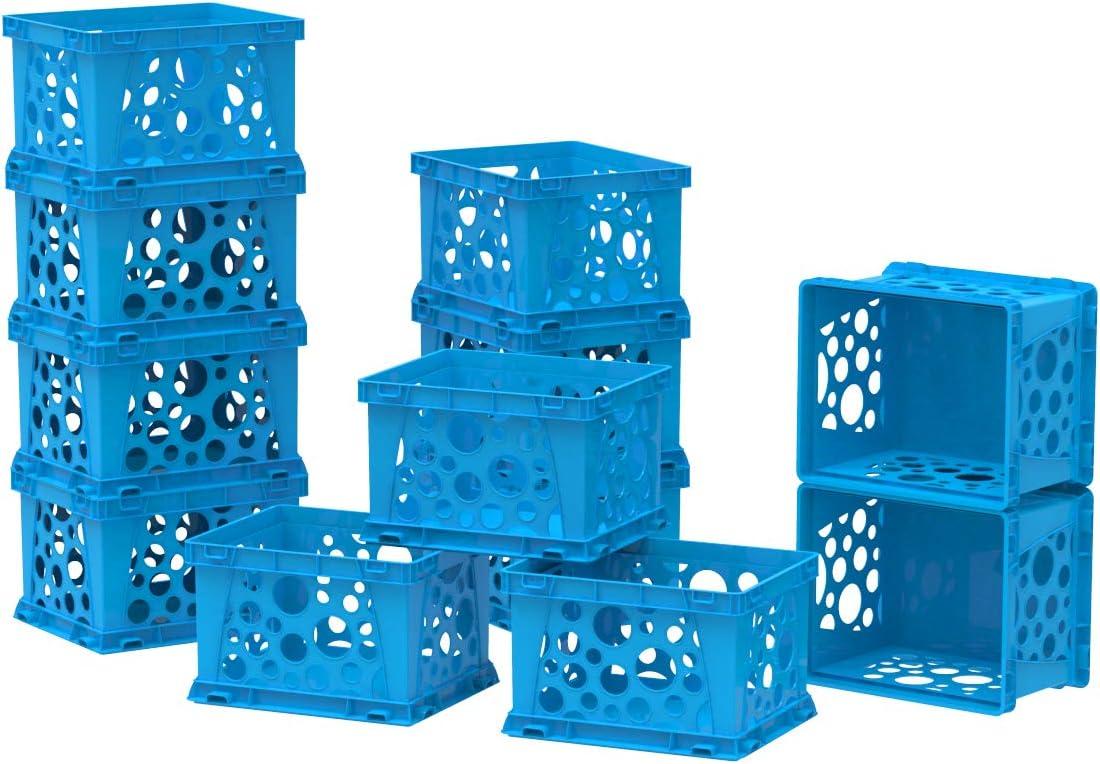 Storex Mini Storage Crate, 9 x 7.75 x 6 Inches, Neon Blue, 12-Pack (61588U12S)