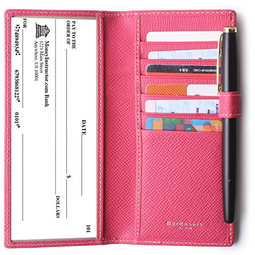 Leather Checkbook Cover For Women & Men RFID Credit Card Holder Wallet with Pen Insert Rose