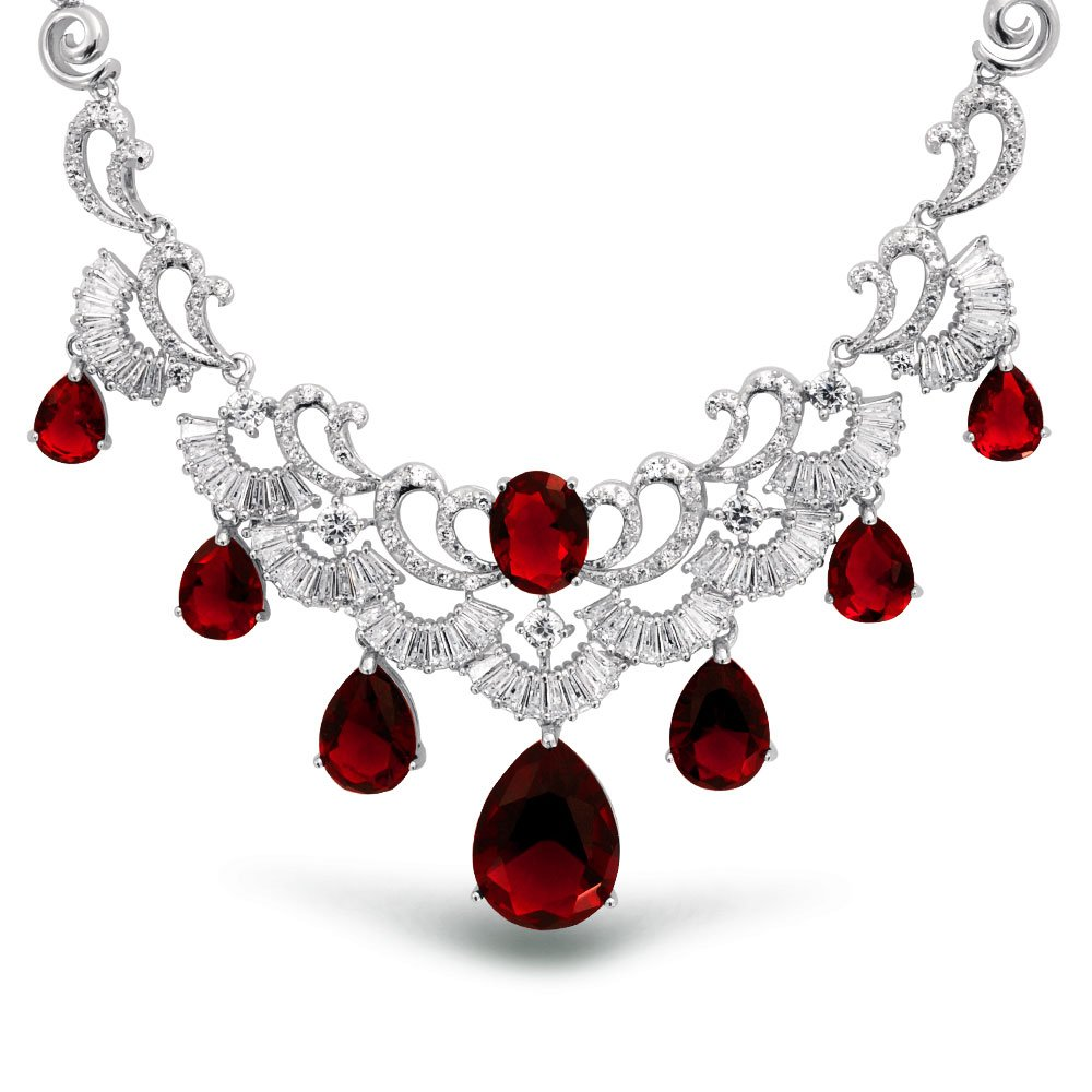 Bling Jewelry Deco Style Red CZ Multi Teardrop Baguette Simulated Ruby Prom Statement Pageant Necklace for Women Silver Plated Brass