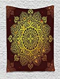 XHFITCLtd Mandala Tapestry, Ornamental Snowflake Floral Ethnic Traditional Arabian Oriental Graphic Artwork, Wall Hanging for Bedroom Living Room Dorm, 60 W x 80 L Inches, Yellow Brown