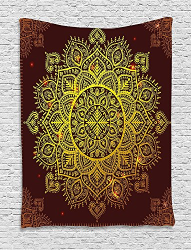 XHFITCLtd Mandala Tapestry, Ornamental Snowflake Floral Ethnic Traditional Arabian Oriental Graphic Artwork, Wall Hanging for Bedroom Living Room Dorm, 60 W x 80 L Inches, Yellow Brown by XHFITCLtd