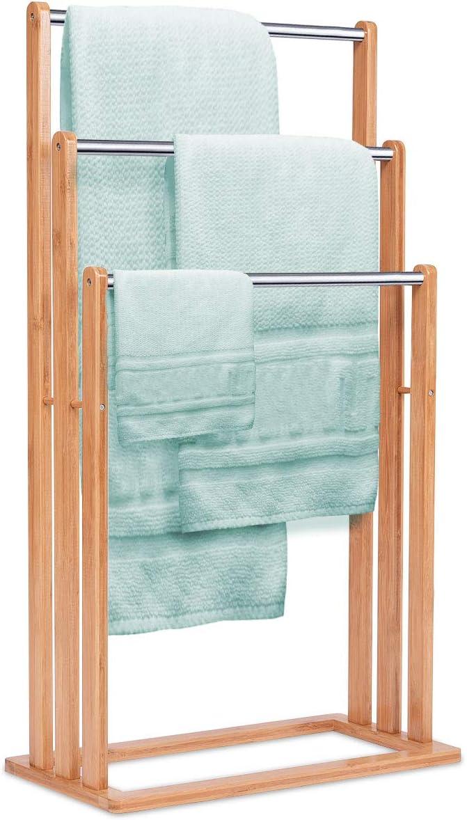 Toallero de bambú sobre pie escalera para servilletas, 3 barras de acero inoxidable, soporte toalla baño 46 x 24 x 84 cm, madera natural: Amazon.es: Bricolaje y herramientas