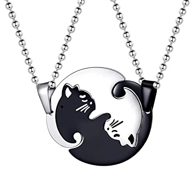 42274f4ed2 Uloveido Titanium Stainless Steel Kitty Cat Animal Necklace, Couple Puzzle  Matching Cat Necklace for Women