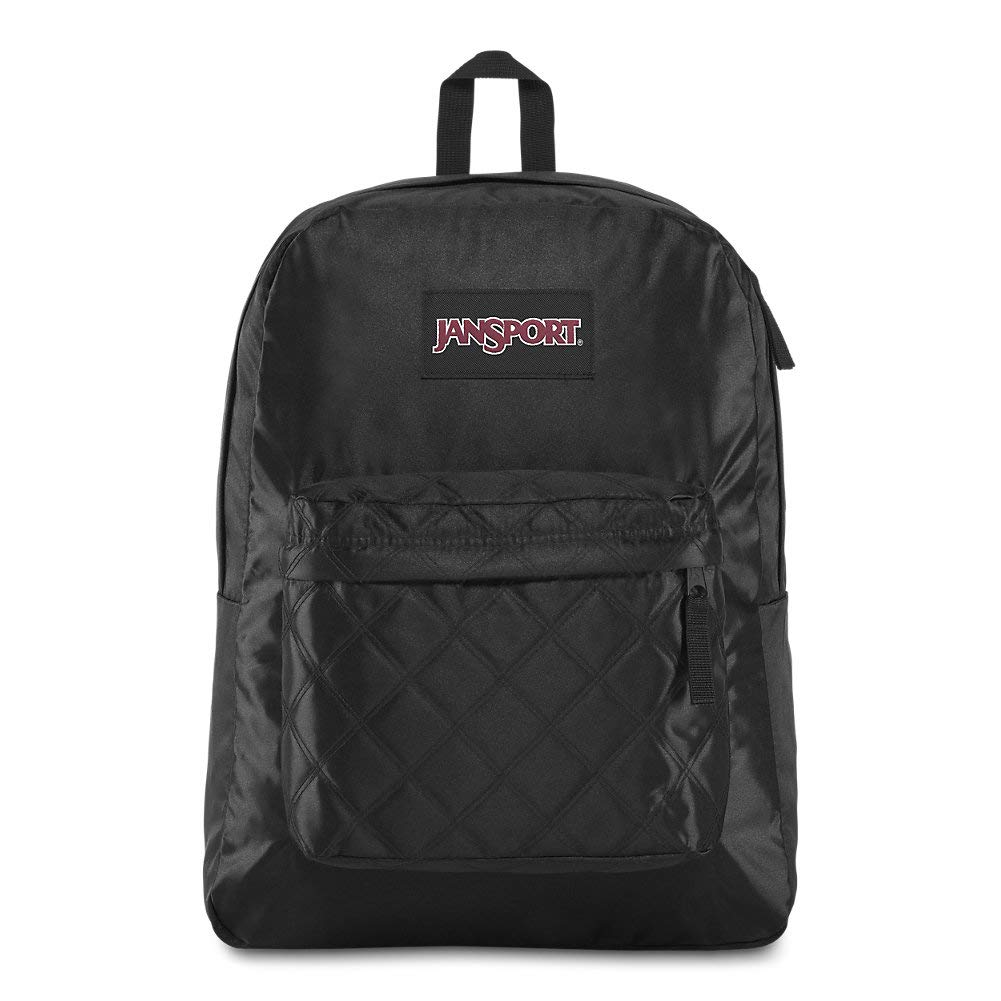 JanSport Super FX Backpack - Trendy School Pack With A Unique Textured Surface | Black Satin & Diamond Quilting