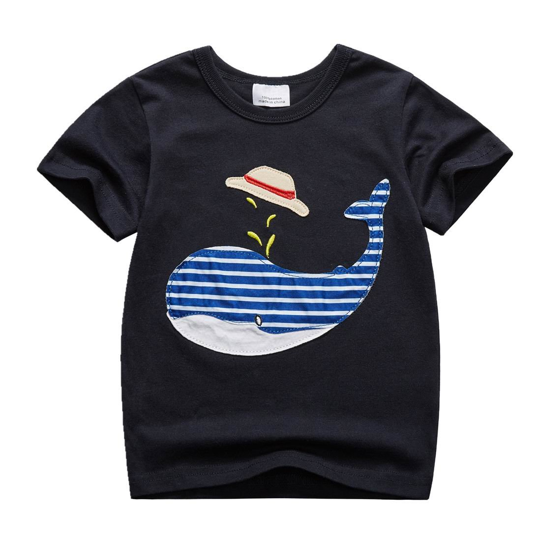 Sooxiwood Little Boys T-Shirt Animal Summer Size 2T Navy-Black by Sooxiwood (Image #1)