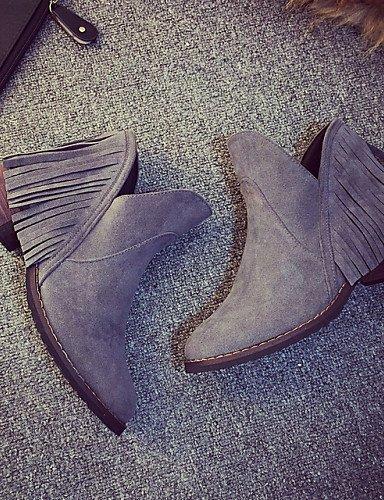 Xzz Negro Zapatos Botines Brown us6 Vestido Gray Marrón us8 Uk6 Eu39 Botas Mujer Uk4 Casual Cn39 Eu36 Semicuero De Gris Plano Tacón Cn36 rrqv4g