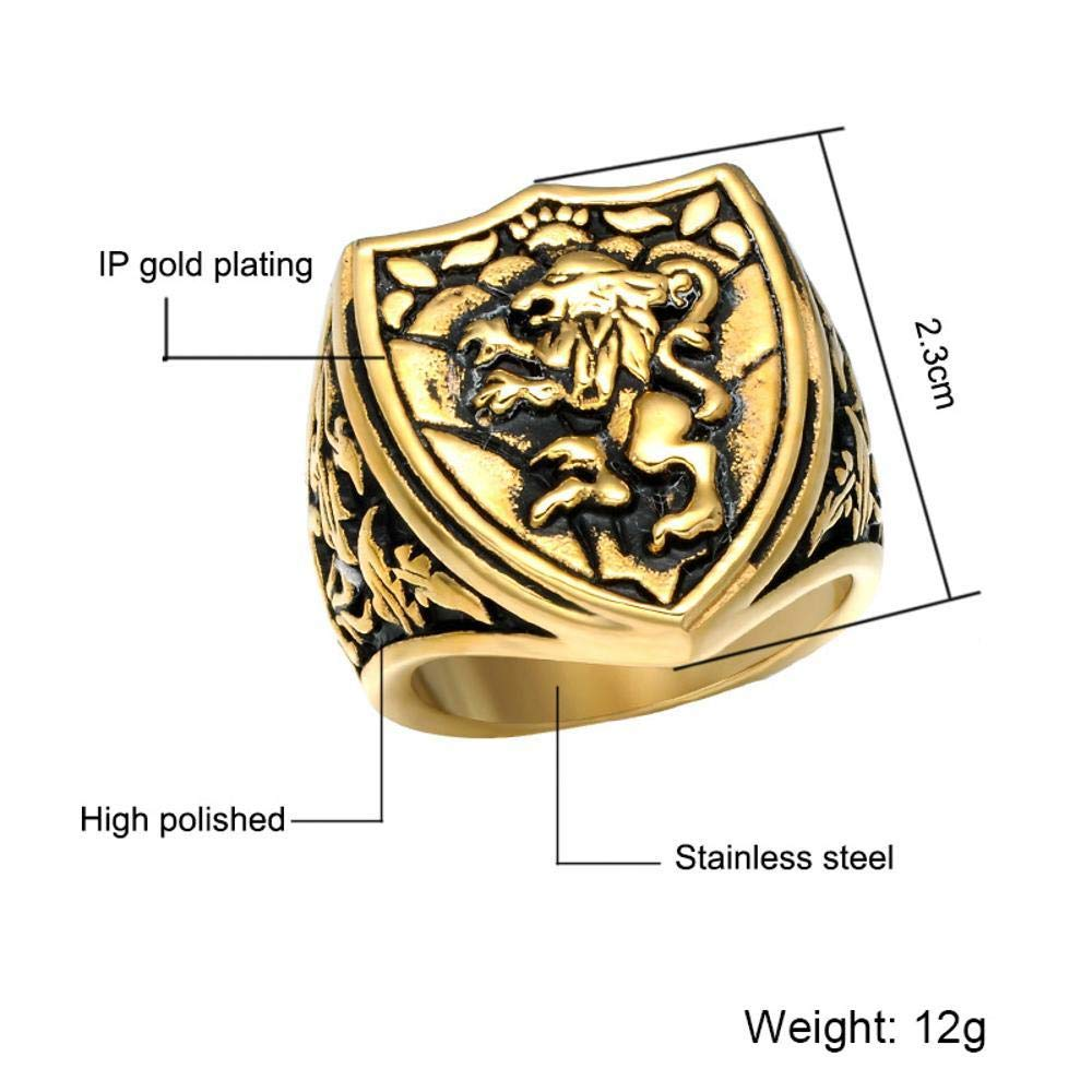Dixinla Rings Steel , European and American Fashion Domineering Animal Lion Head Men Titanium Steel Ring Jewelry Gift for Family or Friends by Dixinla (Image #2)
