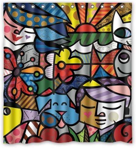 Green-Store romero britto Custom Waterproof Polyester Fabric Shower Curtain With Latest Design Print 66*72 Inch