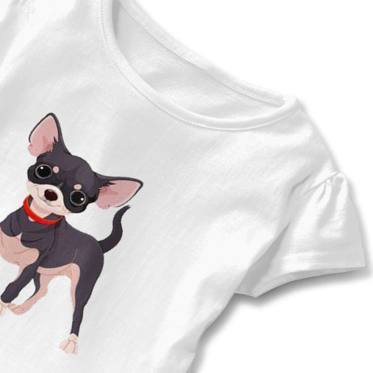 Chihuahua Dog Toddler Baby Girls Cotton Ruffle Short Sleeve Top Comfortable T-Shirt 2-6T