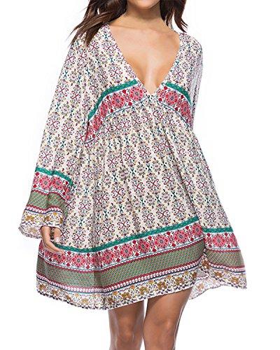 (Kidsform Women Boho Mini Dress Floral Printed Long Sleeve Deep V-Neck Loose Flowy Party Beach Short Dress)