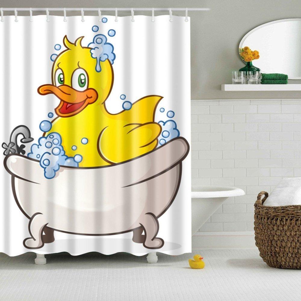 Amazon.com: GWELL Kids Shower Curtain Nursery Animal Bathroom ...