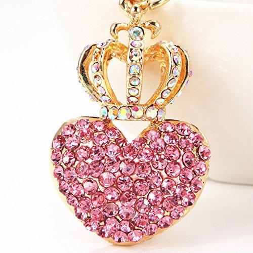 Pink Heart Keychain - Cute Rhinestone Crown Heart Keychain Crystal Bag Charm Key Ring Jewelry - Pink