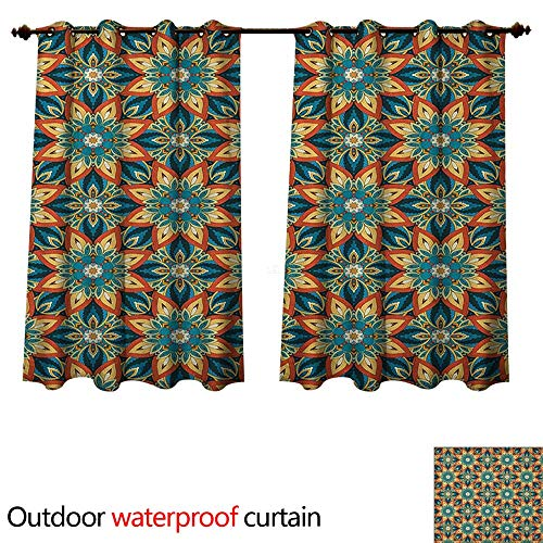 Ottoman Outdoor Curtains for Patio Sheer Ornate Floral Pattern with Vintage Mandala Elements Traditional and Bohemian Design W72 x L72(183cm x 183cm)