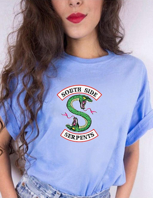 Riverdale T-Shirt Donna Ragazza Magliette Estate Camicia a Manica Corta Riverdale Southside Serpents Casuale Hip Pop Tee Top Maglia Elegante Camicetta Pullover