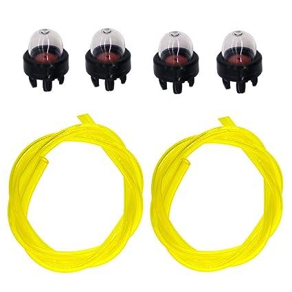 NIMTEK 503936601 4 Pack Primer Bulb with Two Fuel Line for Husqvarna Blower 125B 125BX 125BVX 225BX 225HBV 356BF 356BT Chainsaw 235 236 240 340 345 ...