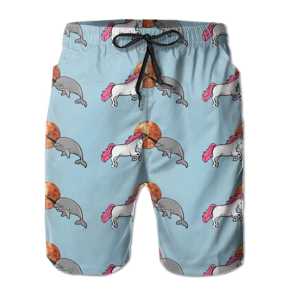 Unicorn Vs Narwhal Men's Basic Boardshorts L With Pocket by OIYP