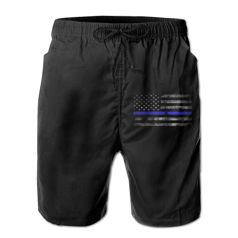 ETAboar Thin Blue Line American Flag Mens Board Shorts Beach Swim Shorts Board Shorts