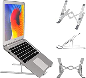 "Laptop Stand, Portable Laptop Holder Riser Height Adjustable, Foldable Aluminum Computer Stand Tablet Stand Compatible with MacBook Air Pro, Lenovo, Dell, More 10-15.6"" Laptops"