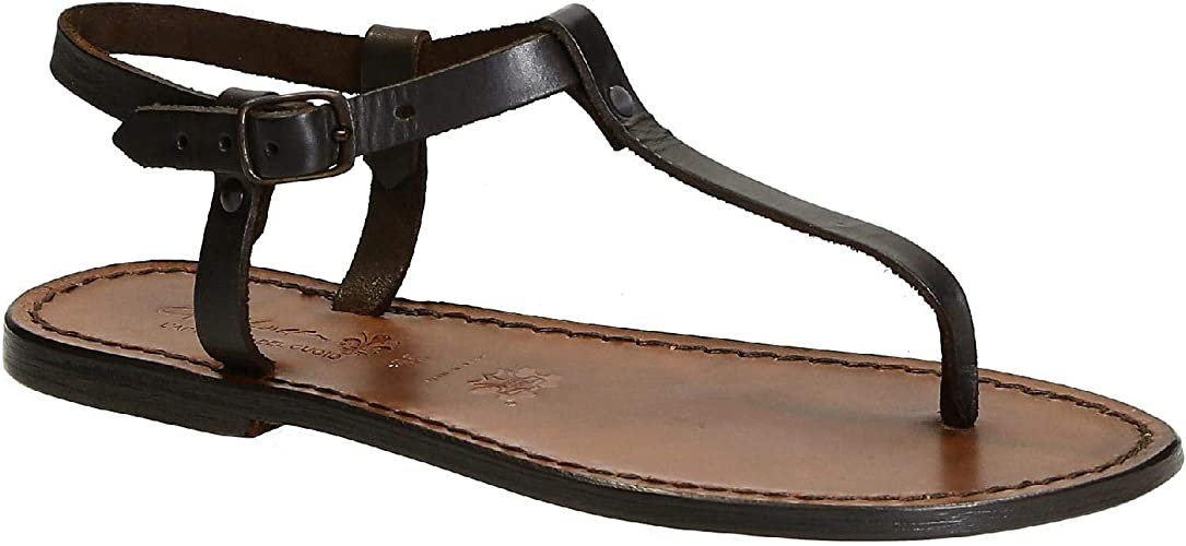 T-strap thong sandals in tan Leather handmade in Italy L/'artigiano del cuoio Gianluca