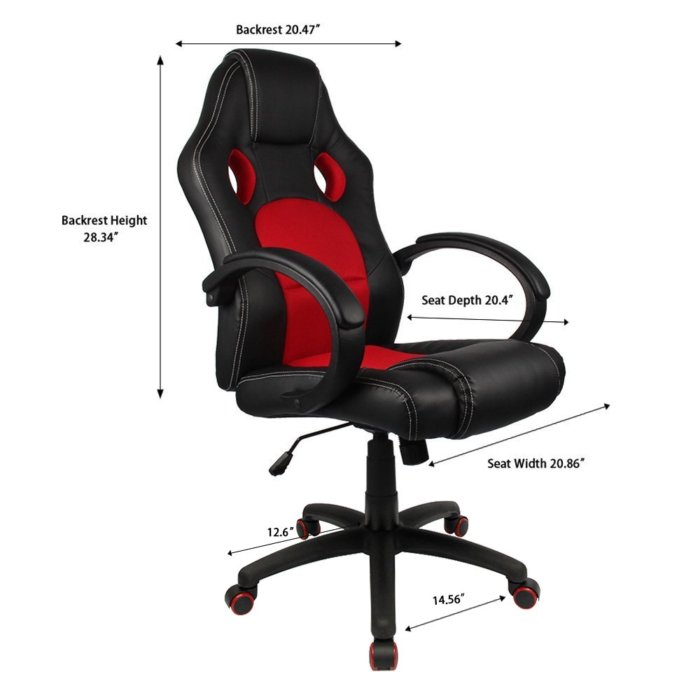 amazoncom homall office chair executive swivel leather desk chair racing style task chair highback gaming chair pu leather and mesh bucket - Leather Office Chairs
