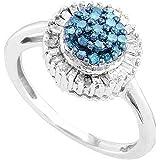 0.40 Carat (ctw) 10K Gold Round Blue & Baguette White Diamond Ladies Cluster Flower Right Hand Ring