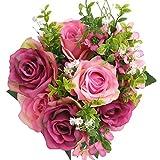 SOLEDI Artificial Flowers Fake Rose 12 Heads Lifelike Snow Mountain Rose For Wedding Home Bar Decor(Rose Red)
