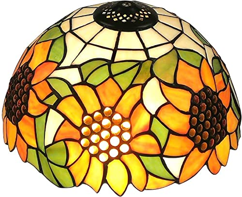 Upgrade Tiffany Style Sunflower Replacement Table Lamp Shades, 12 Inch Width, Stained Glass by WeiJuMei
