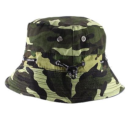 191264da803 Natuworld Cotton Bucket Hats Camouflage Round Brim Boonie Bush Safari Fishing  Hat Cap Summer for Unisex