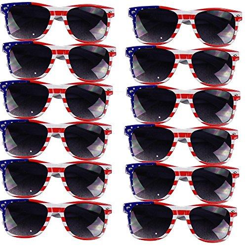 UB Eyewear USA American Flag Patriotic Sunglasses (Stripes, 12 Pack)