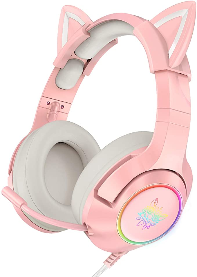 Amazon.com: ONIKUMA Pink Gaming Headset with Removable Cat Ears, for PS5, PS4, Xbox One (Adapter Not Included), Nintendo Switch, PC, with Surround Sound, RGB LED Light & Noise Canceling Retractable Microphone: Electronics