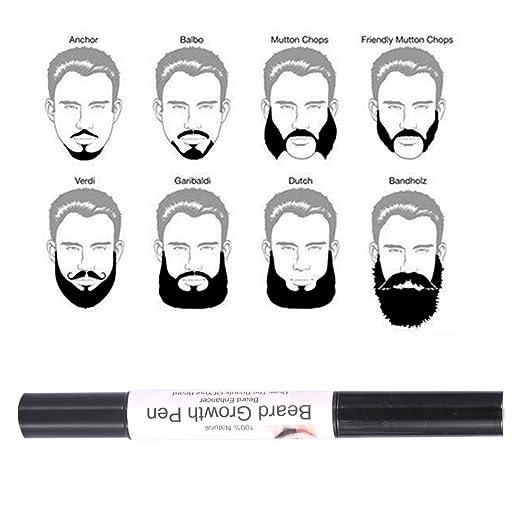 Barba crecimiento, Pluma de crecimiento de la barba de los hombres, 2pcs molde facial de la reparación del bigote del pelo más rápido crecimiento nutrición ...