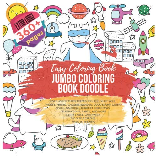 Jumbo Coloring Book Doodle. Easy Coloring Book - Over 360 Pictures themes include: Vegetable, Money, Fruits, Gadgets, Garden, Good Night, Outer Space, ... Extra Large 360+ pages. Big size 8,5x8,5 in]()