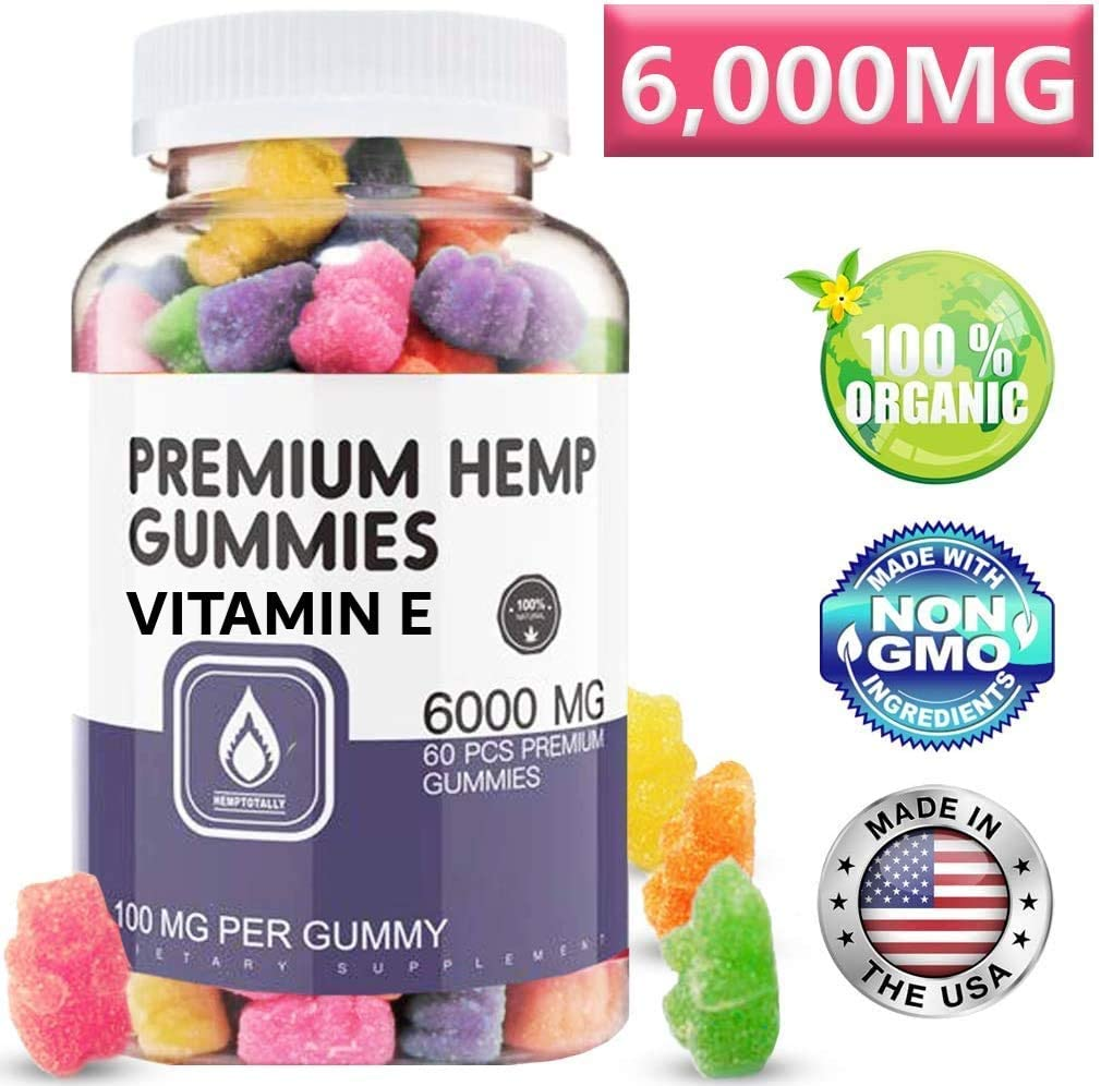 HempTotally Hemp Gummies 6000MG - 100MG per Natural Fruit Gummy with Organic and Vegan Hemp Oil, Candy Supplements for Pain, Anxiety, Stress, Inflammation Relief, Sleep & to Boost Immune System