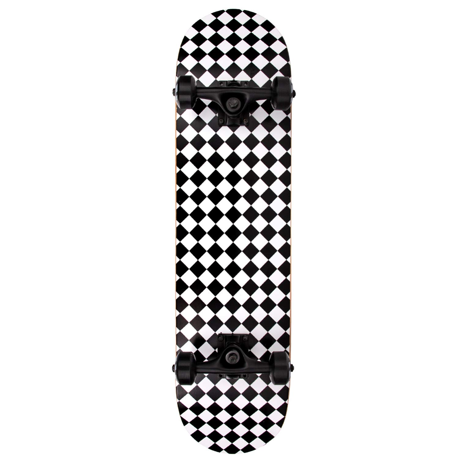 NPET Pro Skateboard Complete 31 Inch 7 Layer Canadian Maple Double Kick Concave Deck Skating Skateboard (Black & White Graphic)