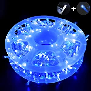 MYGOTO led String Lights 500LED 165ft Indoor/Outdoor Fairy String Lights 30V 8 Modes Christmas Lights for Home, Christmas Tree, Wedding Party, Room,Wall Decoration, Indoor&Outdoor(Blue+White)