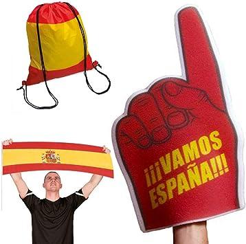 Fun Fan Line - Conjunto de animación para fútbol y eventos deportivos. Bandera Española + Mano gigante de espuma + Bolsa Mochila. Ideal para estadios y fiestas. (España): Amazon.es: Juguetes y juegos