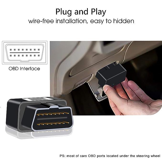 Mini OBD22 Localizador GPS Plug&Play con Carga Gratuita, Seguimiento en Tiempo Real, Geo-cercas, Sistema de Alerta para Automóviles, Camiones, Taxis, ...