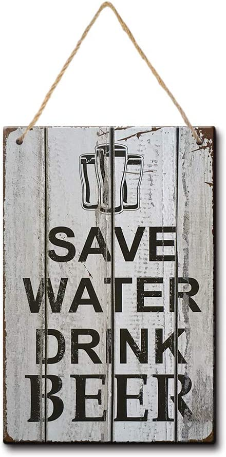 YILMEN Save Water Drink Beer Decorative 8x12.5 Inches Wood Sign Bar Metal Pub Wall Decor Shop (W3059)
