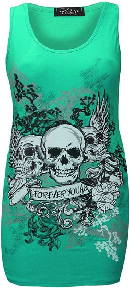 Red Olives Ladies Girls Sleeveless 3 Skulls Forever Young Printed Casual Vest Tee Top