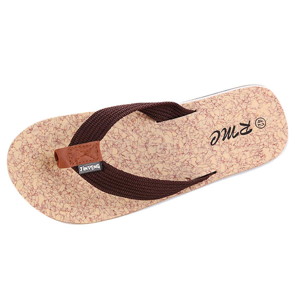 ZOMUSAR New! 2019 Men's Summer Beach Breathable Slippers Non-Slip Flip-Flops Flat Shoes Slippers Coffee