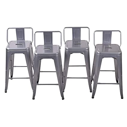 Prime 26 Inch Metal Barstools Set Of 4 Indoor Outdoor With Low Back Counter Height Stool Kitchen Dining Side Bar Chairs Silver Unemploymentrelief Wooden Chair Designs For Living Room Unemploymentrelieforg