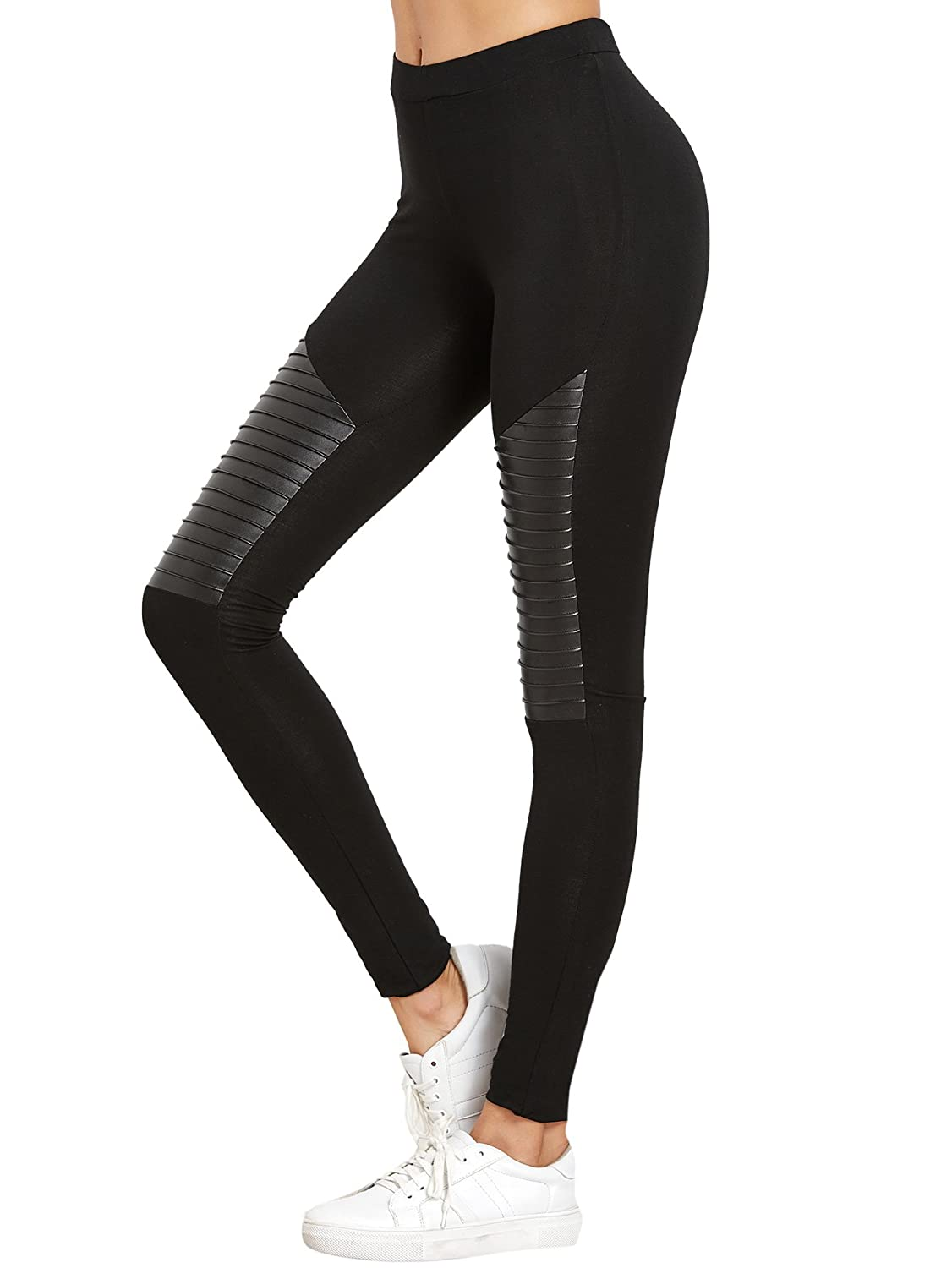 34015c1fd73 SweatyRocks Women s Faux Leather Inserted Leggings Outfit Yoga Tights at  Amazon Women s Clothing store